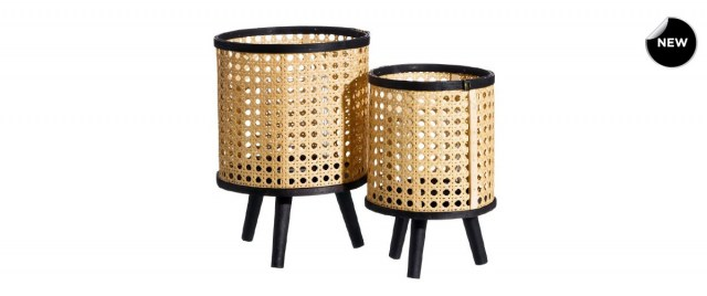 Set Natural-Black Rattan Κηροπήγια
